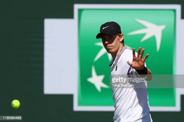 Denis Shapovalov of Canada reacts during his men's singles third round match against Marin Cilic of Croatia on Day 9 of the BNP Paribas Open at the...