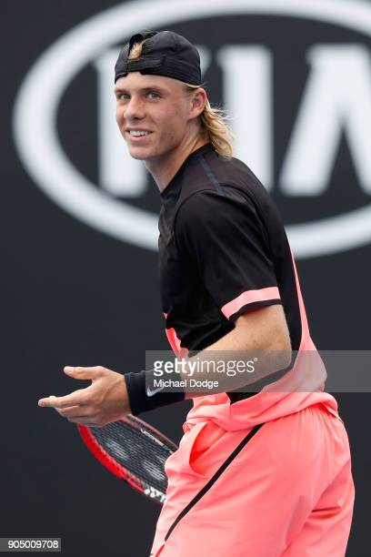 Denis Shapovalov of Canada reacts in his first round match against Stefanos Tsitsipas of Greece on day one of the 2018 Australian Open at Melbourne...