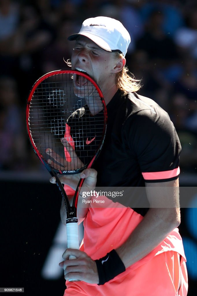 Denis Shapovalov of Canada reacts in his second round match against Jo-Wilfried Tsonga of France on day three of the 2018 Australian Open at Melbourne Park on January 17, 2018 in Melbourne, Australia.