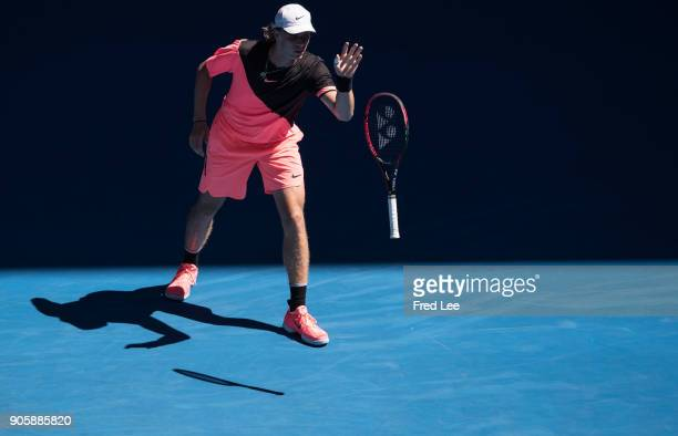 Denis Shapovalov of Canada reacts in his second round match against JoWilfried Tsonga of France on day three of the 2018 Australian Open at Melbourne...