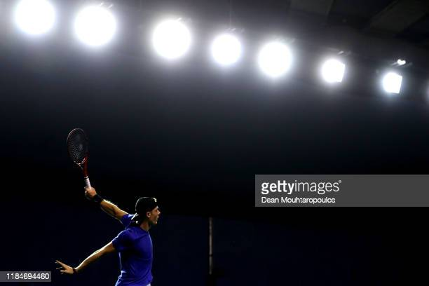 Denis Shapovalov of Canada returns a backhand in his match against Alexander Zverev of Germany on day 4 of the Rolex Paris Masters part of the ATP...