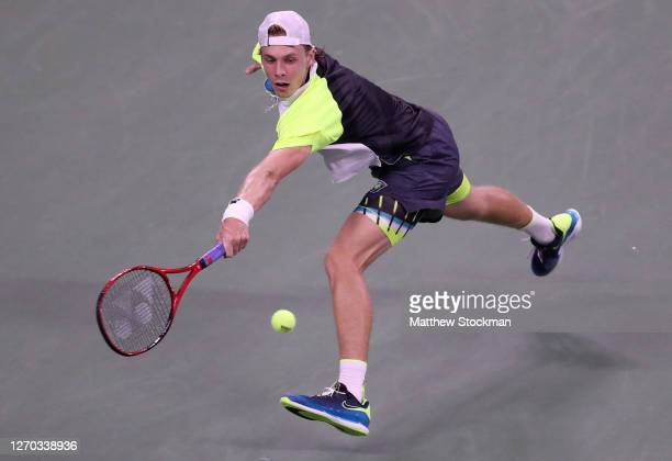 Denis Shapovalov of Canada returns a volley during his Men's Singles second round match against Soonwoo Kwon of Korea on Day Three of the 2020 US...