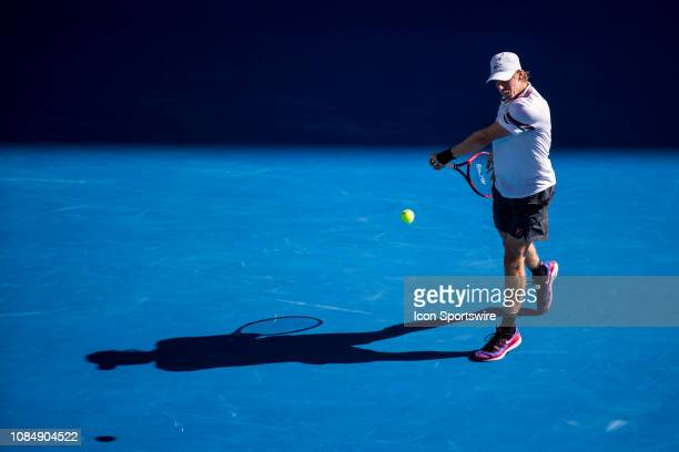 Denis Shapovalov of Canada returns the ball during day 6 of the Australian Open on January 19 2019 at Melbourne Park in Melbourne Australia