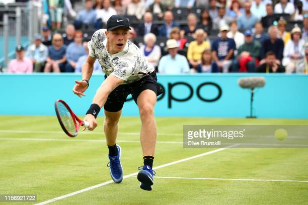 Denis Shapovalov of Canada runs to play a backhand during his First Round Singles Match against Juan Martin del Potro of Argentina during day Three...