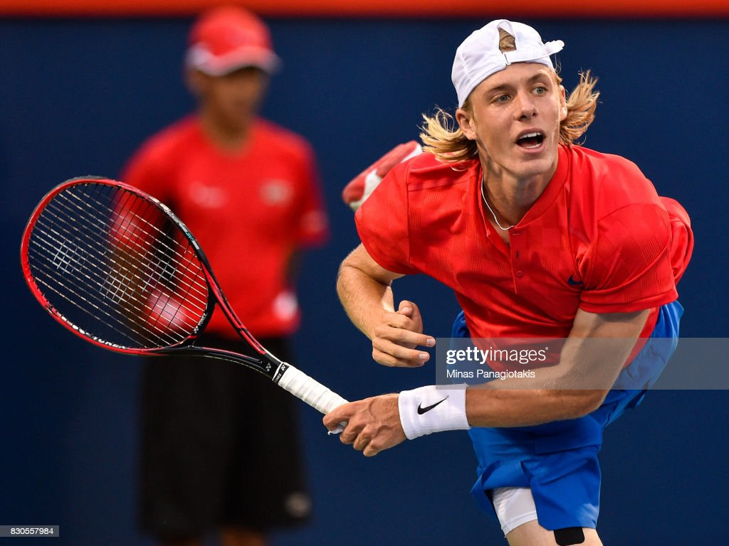 Denis Shapovalov of Canada serves against Adrian Mannarino of France during day eight of the Rogers Cup presented by National Bank at Uniprix Stadium on August 11, 2017 in Montreal, Quebec, Canada.