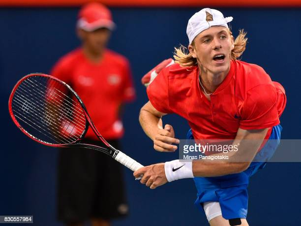 Denis Shapovalov of Canada serves against Adrian Mannarino of France during day eight of the Rogers Cup presented by National Bank at Uniprix Stadium...