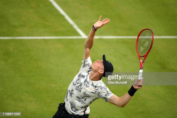 Denis Shapovalov of Canada serves during his First Round Singles Match against Juan Martin del Potro of Argentina during day Three of the FeverTree...