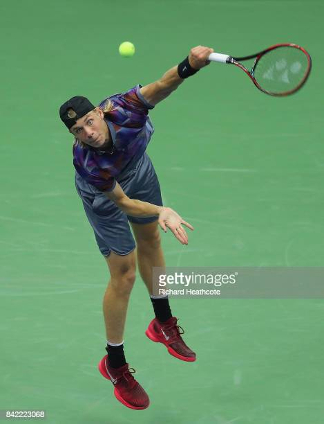 Denis Shapovalov of Canada serves during his fourth round match against Pablo Carreno Busta of Spain on Day Seven of the 2017 US Open at the USTA...