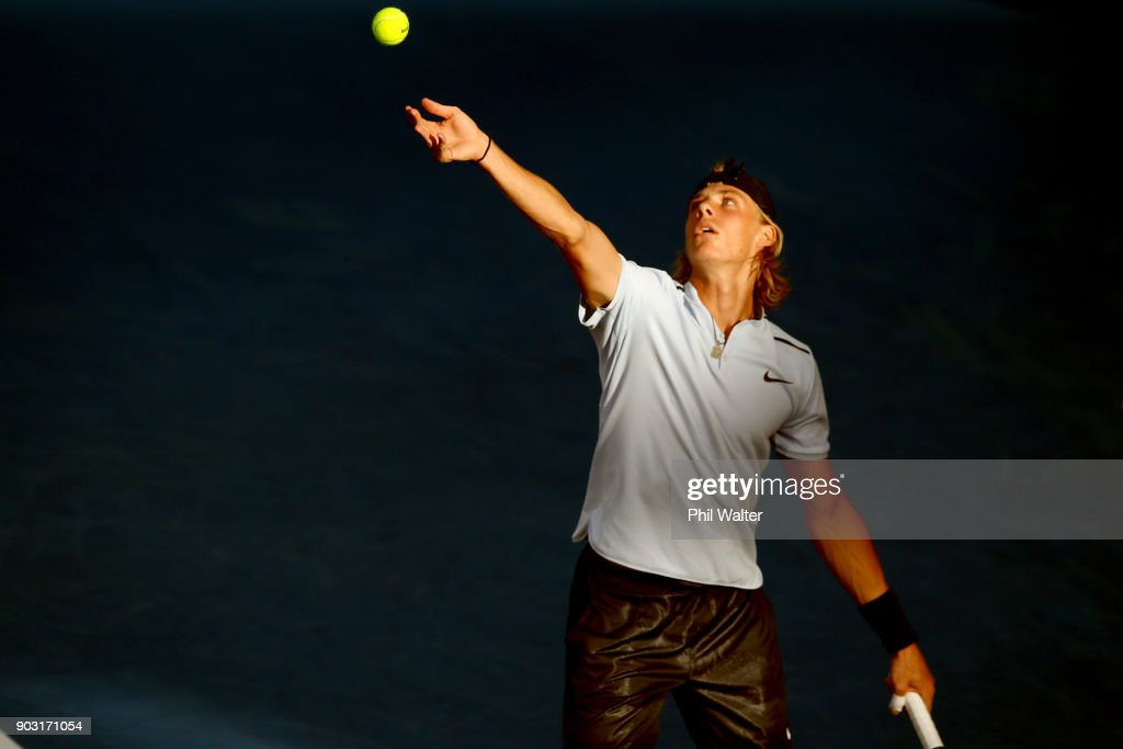 Denis Shapovalov of Canada serves during his his second round match against Juan Martin Del Porto of Argentina on day three of the ASB Men's Classic at ASB Tennis Centre on January 10, 2018 in Auckland, New Zealand.