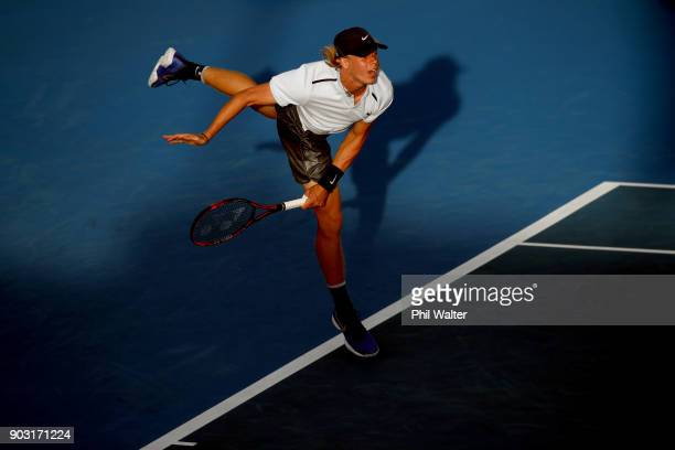 Denis Shapovalov of Canada serves during his his second round match against Juan Martin Del Porto of Argentina on day three of the ASB Men's Classic...
