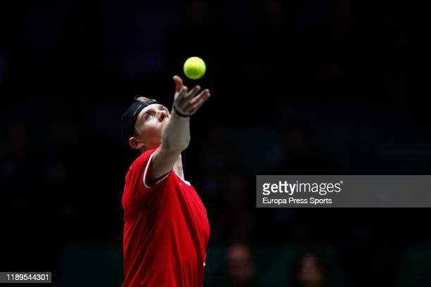 Denis Shapovalov of Canada serves during his second round singles match of SemiFinals against Karen Khachanov of Russia during the Day 6 of the 2019...