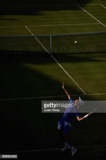 Denis Shapovalov of Canada serves during the mens singles second round match against Tomas Berdych of The Czech Republic on day three of the 2017...