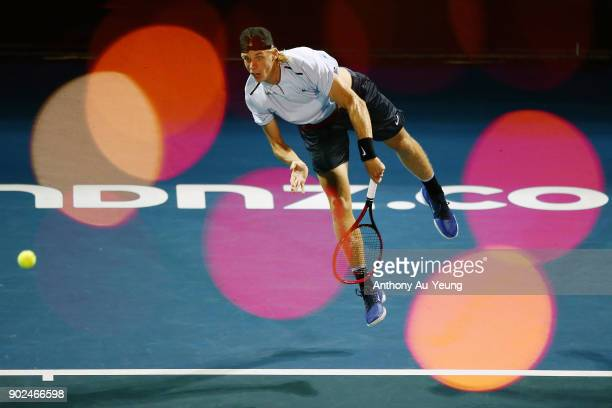 Denis Shapovalov of Canada serves in his first round match against Rogerio Dutra Silva of Brazil during day one of the ASB Men's Classic at ASB...