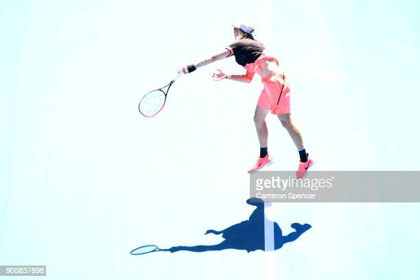 Denis Shapovalov of Canada serves in his second round match against JoWilfried Tsonga of France on day three of the 2018 Australian Open at Melbourne...