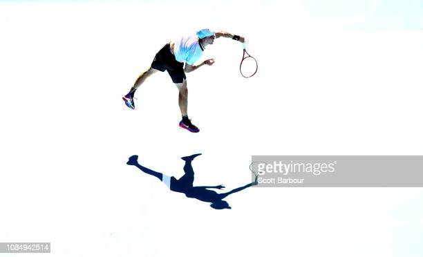 Denis Shapovalov of Canada serves in his third round match against Novak Djokovic of Serbia during day six of the 2019 Australian Open at Melbourne...