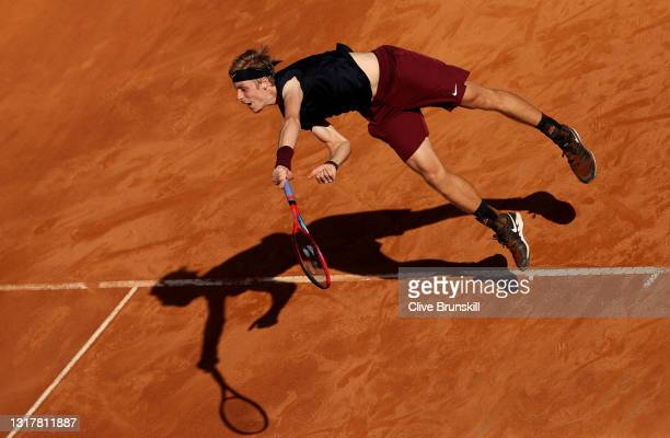 Denis Shapovalov of Canada serves in their mens singles third round match against Rafael Nadal of Spain during Day Six of the Internazionali BNL...