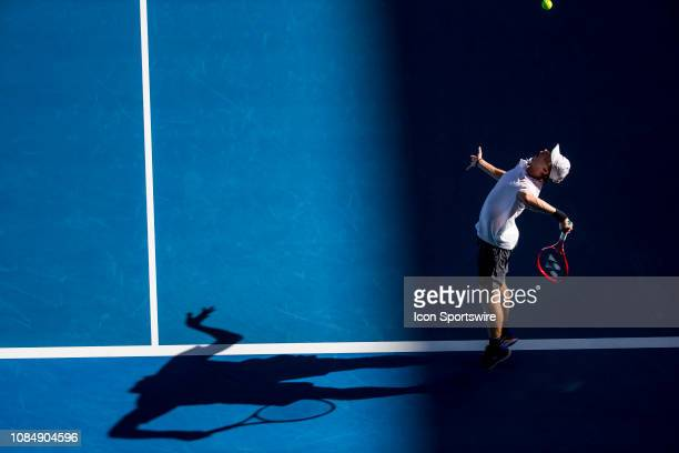 Denis Shapovalov of Canada serves the ball during day 6 of the Australian Open on January 19 2019 at Melbourne Park in Melbourne Australia