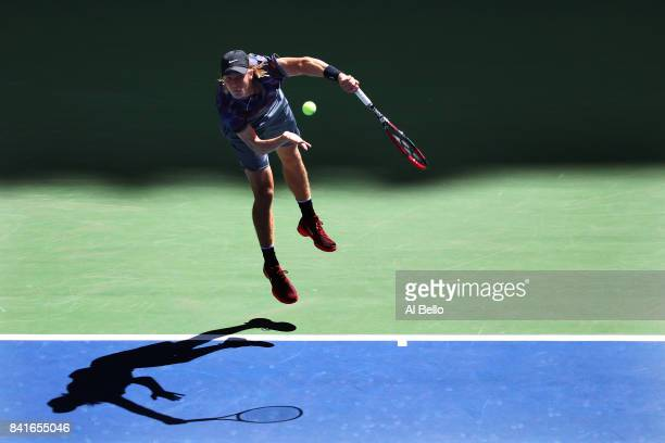 Denis Shapovalov of Canada serves to Kyle Edmund of Great Britain during their third round match on Day Five of the 2017 US Open at the USTA Billie...