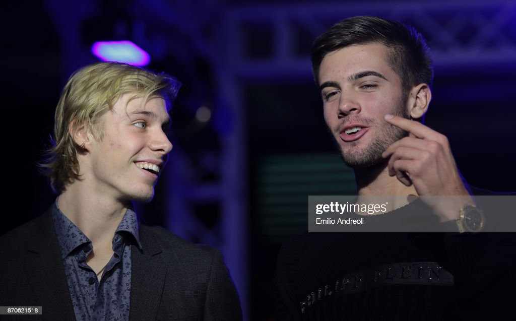 Denis Shapovalov of Canada (L) speaks with Borna Coric of Croatia during the Next Gen ATP Final draw ceremony during the NextGen ATP Finals Launch Party on November 5, 2017 in Milan, Italy.