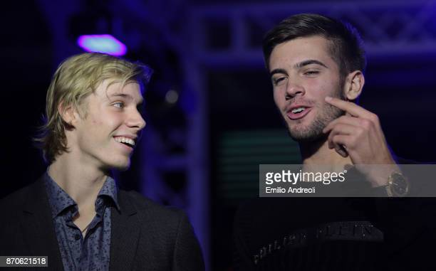 Denis Shapovalov of Canada speaks with Borna Coric of Croatia during the Next Gen ATP Final draw ceremony during the NextGen ATP Finals Launch Party...