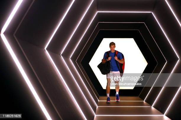 Denis Shapovalov of Canada walks out the players tunnel to play in his Men's Singles Final match against Novak Djokovic of Serbia on day 7 of the...