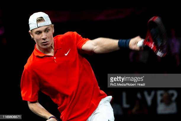 Denis Shapovalov of Team World in action during Day 1 of the Laver Cup 2019 at Palexpo on September 20 2019 in Geneva Switzerland The Laver Cup will...