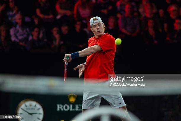 Denis Shapovalov of Team World plays a backhand during Day 1 of the Laver Cup 2019 at Palexpo on September 20 2019 in Geneva Switzerland The Laver...