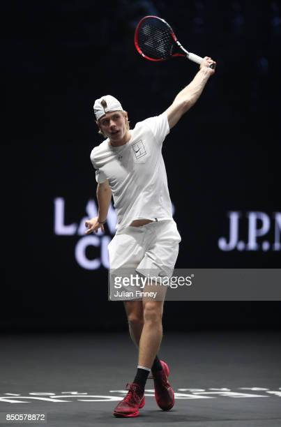 Denis Shapovalov of Team World plays a backhand during practice ahead of the Laver Cup on September 21 2017 in Prague Czech Republic The Laver Cup...