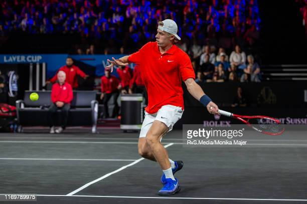 Denis Shapovalov of Team World plays a forehand during Day 1 of the Laver Cup 2019 at Palexpo on September 20 2019 in Geneva Switzerland The Laver...