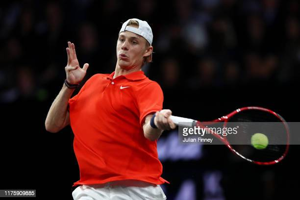 Denis Shapovalov of Team World plays a forehand during his singles match against Dominic Thiem of Team Europe during Day One of the Laver Cup 2019 at...
