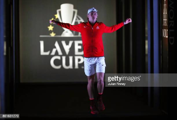 Denis Shapovalov of Team World prepares for his singles match against Alexander Zverev of Team Europe serevs on the first day of the Laver Cup on...