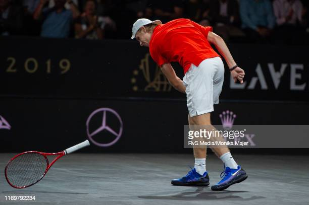 Denis Shapovalov of Team World reacts after a point during Day 1 of the Laver Cup 2019 at Palexpo on September 20 2019 in Geneva Switzerland The...