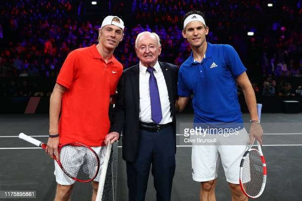 Denis Shapovalov of Team World, Rod Laver and Dominic Thiem of Team Europe pose for a photo after the coin toss prior to the start of the first match...