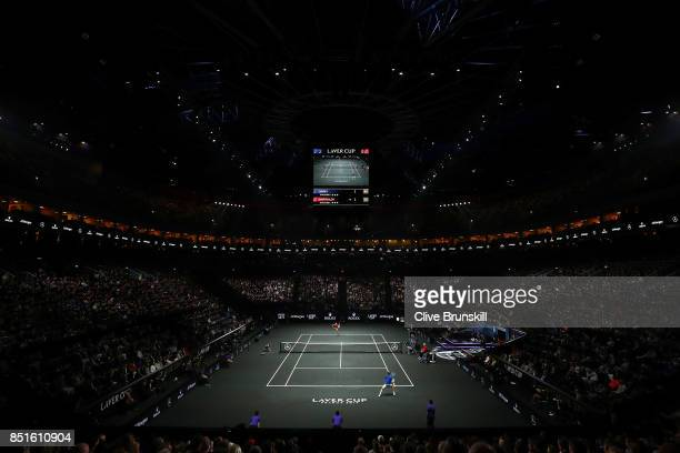 Denis Shapovalov of Team World serevs during his singles match against Alexander Zverev of Team Europe serevs on the first day of the Laver Cup on...