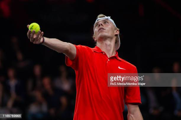 Denis Shapovalov of Team World serves during Day 1 of the Laver Cup 2019 at Palexpo on September 20 2019 in Geneva Switzerland The Laver Cup will see...