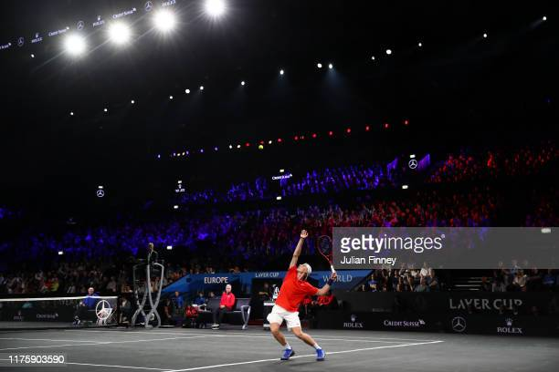 Denis Shapovalov of Team World serves during his singles match against Dominic Thiem of Team Europe during Day One of the Laver Cup 2019 at Palexpo...
