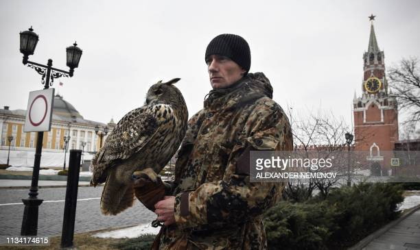 Denis Sidogin a 34yearold trainer of the Kremlin ornithological service a special unit set up in 1984 and overseen by the Federal Guard Service holds...