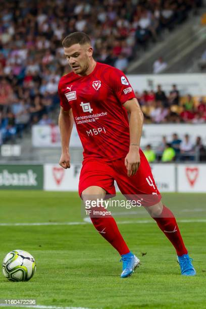 Denis Simani of FC Vaduz controls the ball during the UEFA Europa League Third Qualifying Round match between FC Vaduz and Eintracht Frankfurt on...