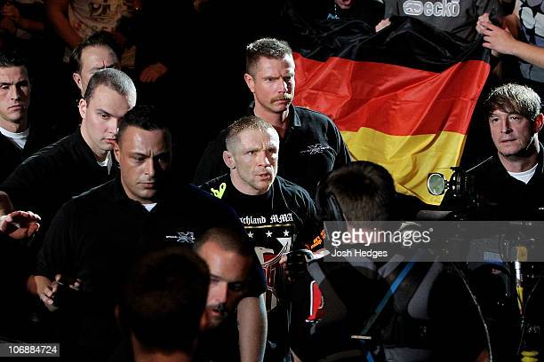 Denis Siver of Germany heads to the ring prior to his UFC Lightweight bout at the Konig Pilsner Arena on November 13 2010 in Oberhausen Germany