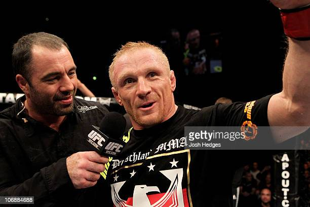 Denis Siver of Germany is interviewed after his UFC Lightweight bout at the Konig Pilsner Arena on November 13 2010 in Oberhausen Germany