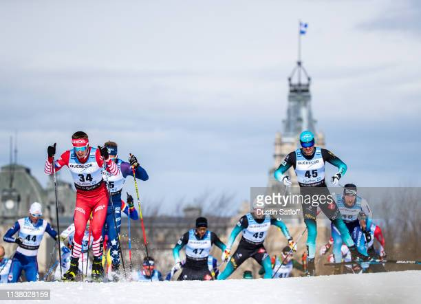 Denis Spitsov of Russia and Maurice Manificat of France compete in the Men's 15km freestyle pursuit during the FIS Cross Country Ski World Cup Final...