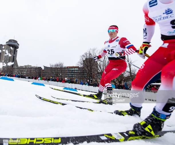 Denis Spitsov of Russia competes in the sprint quarterfinal heat during the FIS Cross Country Ski World Cup Final on March 22 2019 in Quebec City...