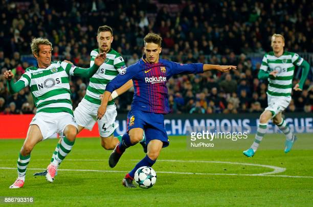 Denis Suarez and Fabio Coentrao during the UEFA Champions League match between FC Barcelona v Sporting CP in Barcelona on December 05 2017