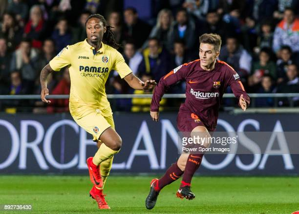 Denis Suarez Fernandez of FC Barcelona fights for the ball with Ruben Afonso Borges Semedo of Villarreal CF during the La Liga 201718 match between...