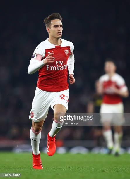 Denis Suarez of Arsenal in action during the Premier League match between Arsenal FC and AFC Bournemouth at Emirates Stadium on February 27, 2019 in...