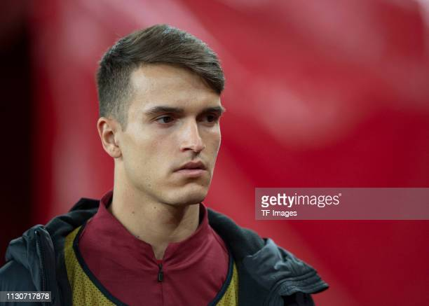 Denis Suarez of Arsenal looks on prior to the UEFA Europa League Round of 16 Second Leg match between Arsenal and Stade Rennes at Emirates Stadium on...