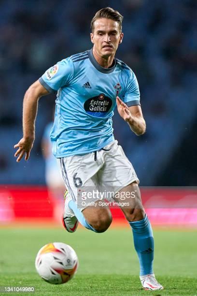 Denis Suarez of Celta de Vigo in action during the La Liga Santander match between RC Celta de Vigo and Cadiz CF at Abanca Balaidos Stadium on...