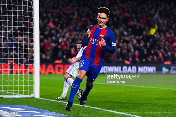 Denis Suarez of FC Barcelona celebrates after scoring his team's fifth goal during the Copa del Rey quarterfinal second leg match between FC...