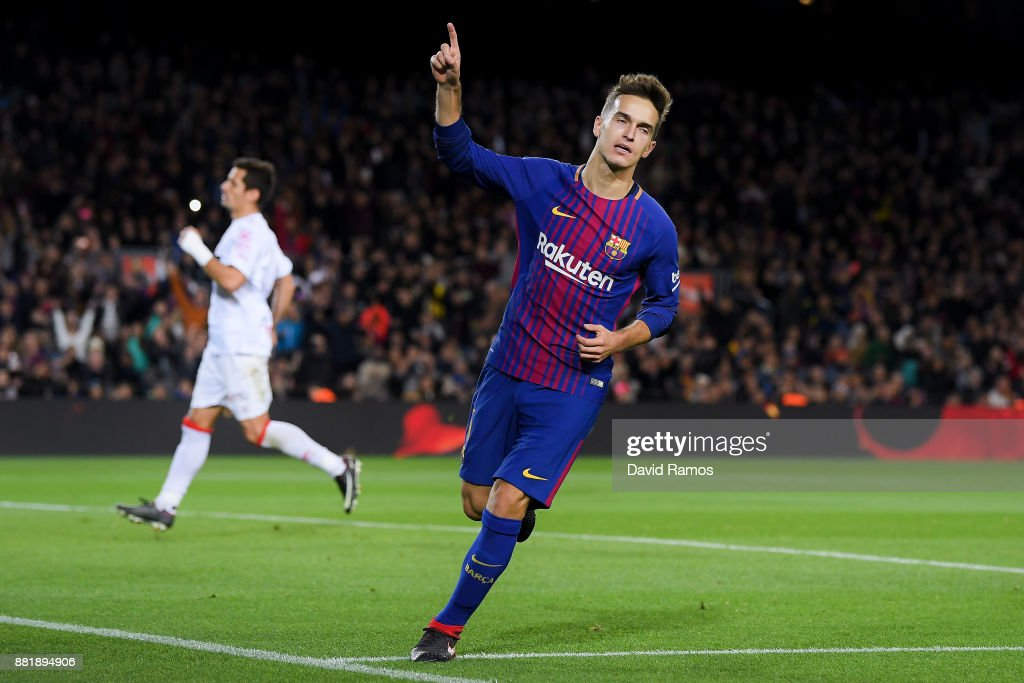 Denis Suarez of FC Barcelona celebrates after scoring his team's fourth goal during the Copa del Rey round of 32 second leg match between FC Barcelona and Real Murcia at Camp Nou on November 29, 2017 in Barcelona, Spain.