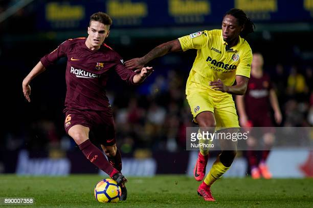 Denis Suarez of FC Barcelona competes for the ball with Ruben Semedo of Villarreal CF during the La Liga game between Villarreal CF and FC Barcelona...